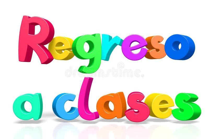 Zurück zu der Schule - englisches Regreso clases - spanisch lizenzfreie abbildung