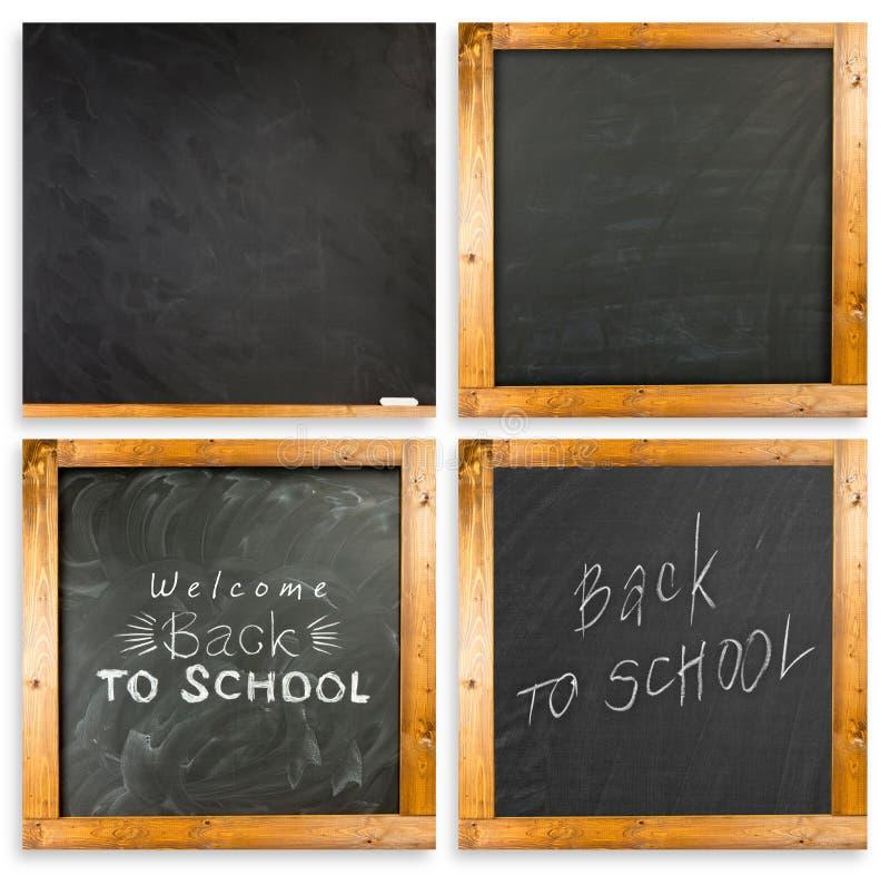 Zurück zu der Schule handgeschrieben mit weißer Kreide auf einer Tafel stockfoto