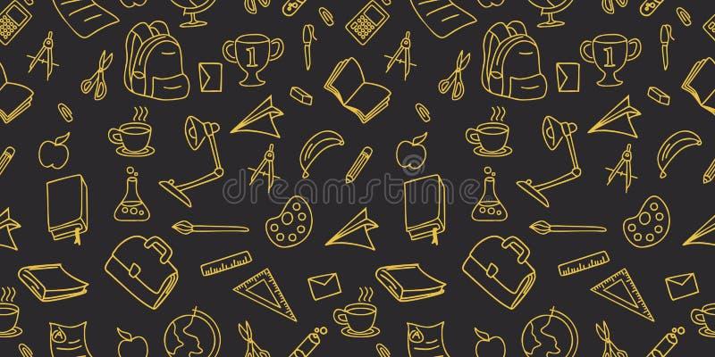 Zurück zu Entwurfs-Vektorillustration lineart Hintergrund des nahtlosen Musters des Schulgekritzels zeichnender lizenzfreie abbildung