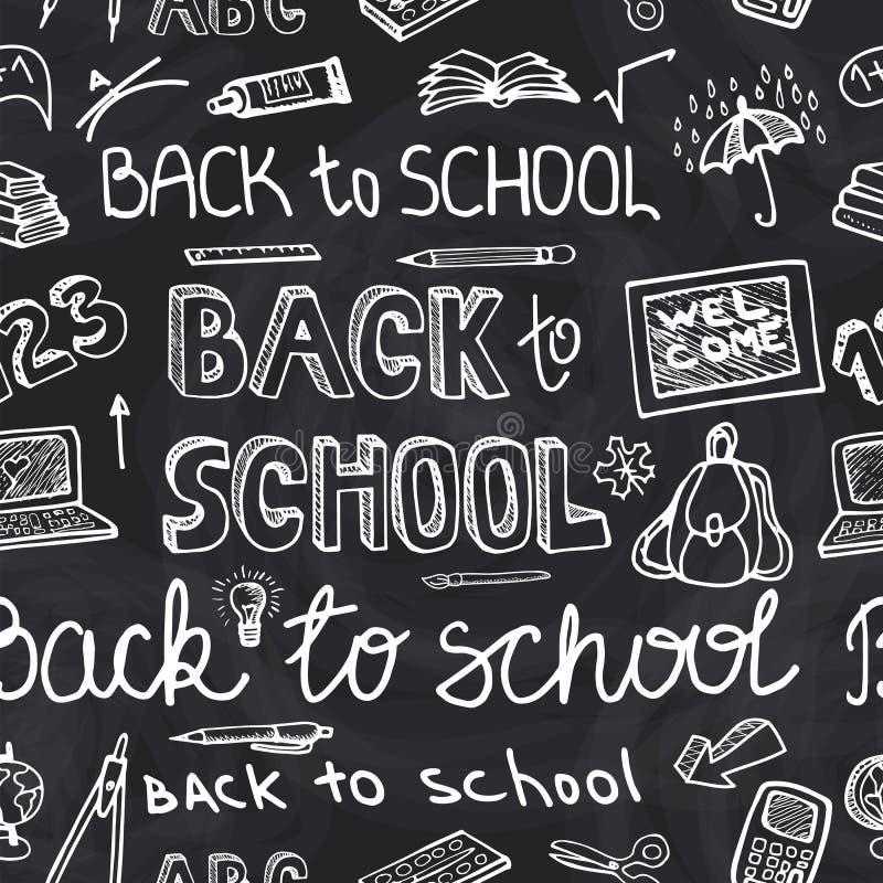 Zurück zu flüchtiger Tafel des Schulbedarfs Nahtloses Muster lizenzfreie abbildung
