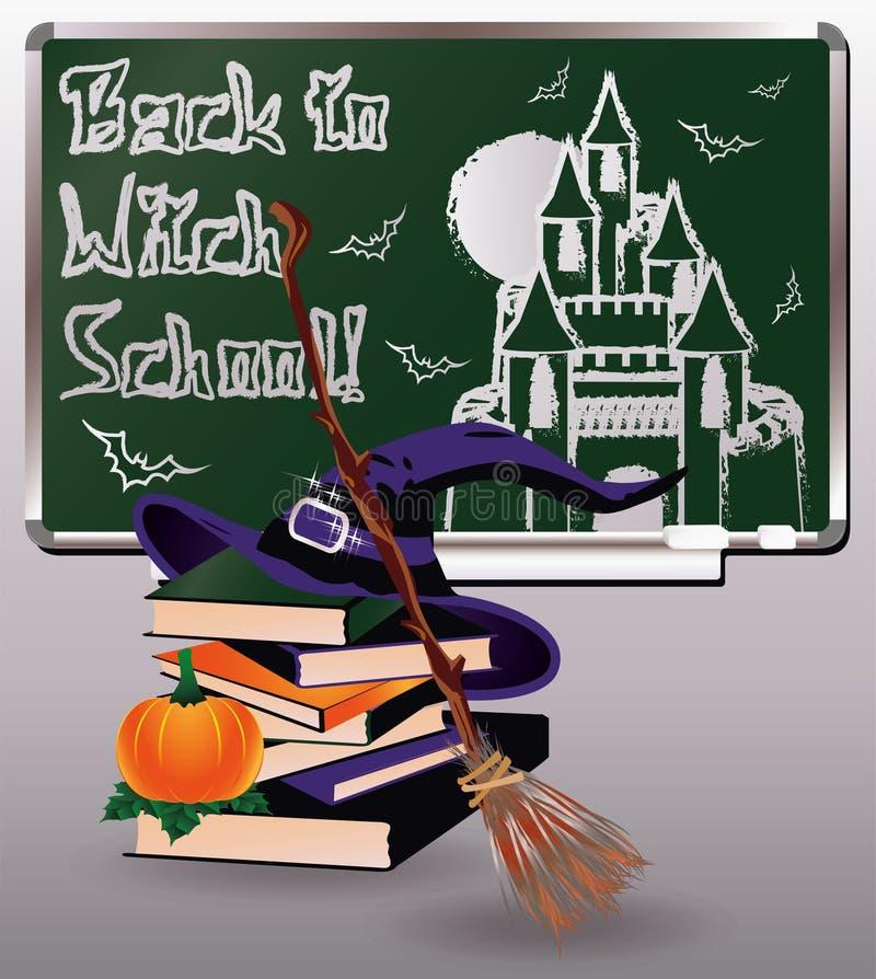 Zurück zu Hexen-Schule Grußkarte mit Büchern stock abbildung
