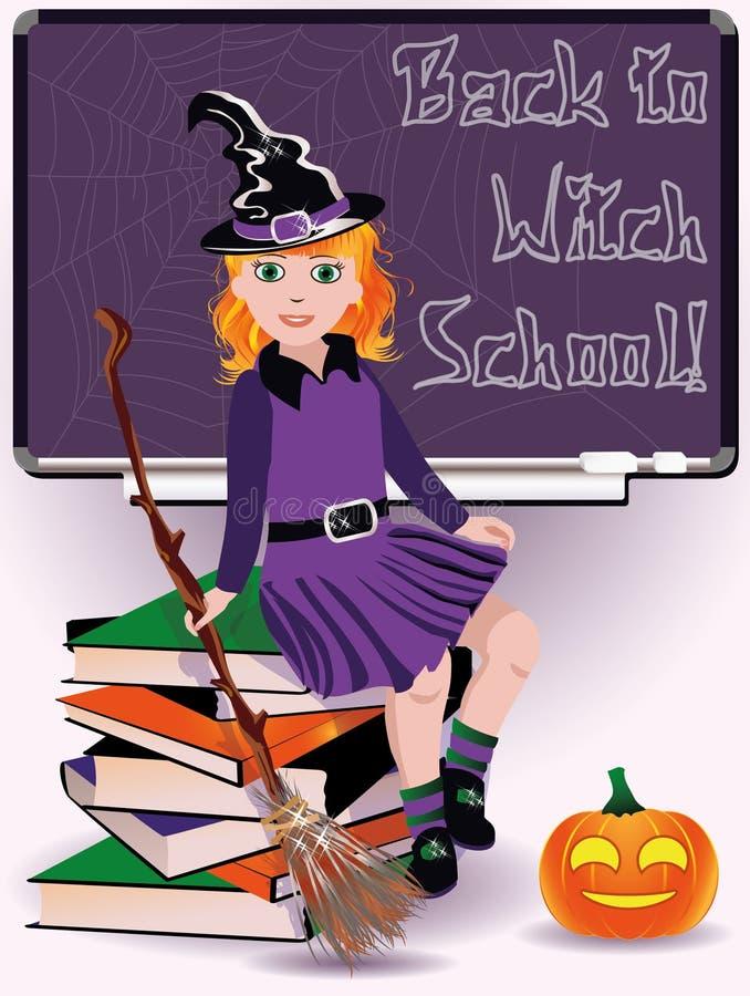 Zurück zu Hexen-Schule Kleine Hexe und Bücher vektor abbildung