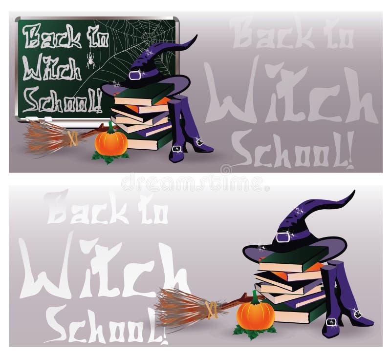 Zurück zu Hexen-Schule Magische Einladungsfahnen vektor abbildung