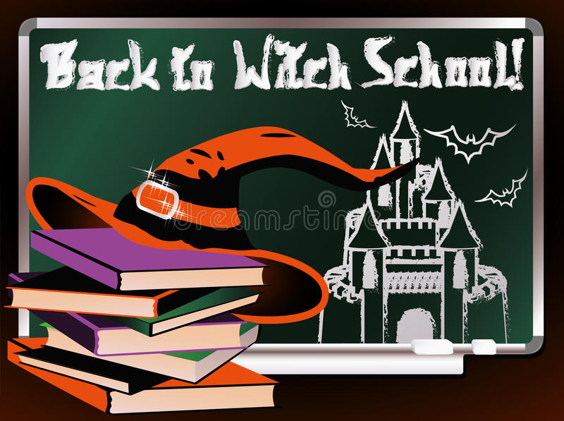 Zurück zu Hexen-Schule Magische Karte lizenzfreie abbildung