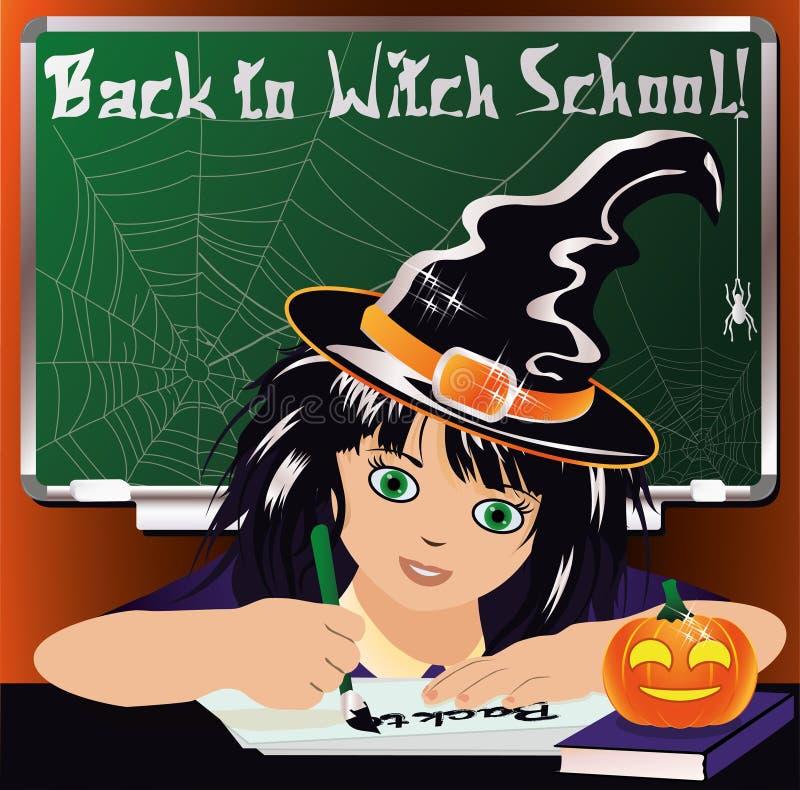 Zurück zu Hexen-Schule Nettes wenig Hexenstudieren vektor abbildung