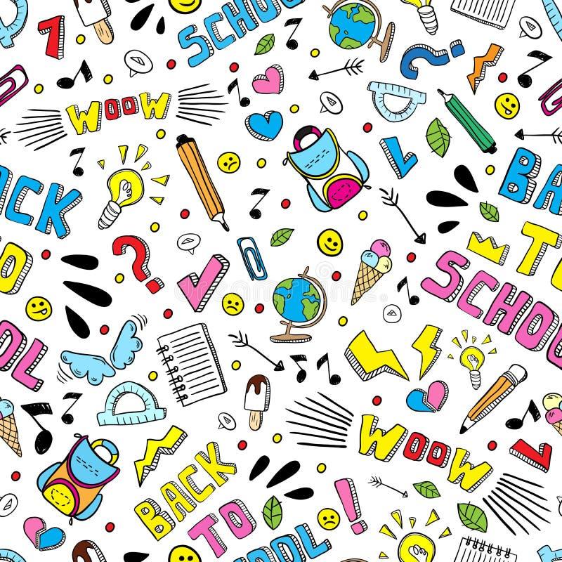 Zurück zu nahtlosem Muster des Schullustigen Vektors Schwarzweiss-Schulbedarf und kreative Elemente lokalisiert Gekritzelartgrafi stock abbildung