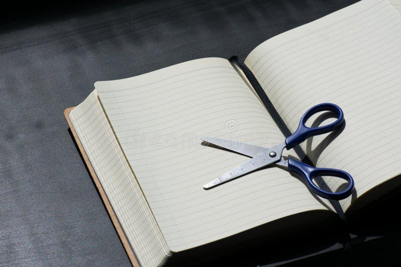 Zurück zu Schulanmerkungsblock Scissors Notizbuch blaues Stahlmetallsilber stockbilder