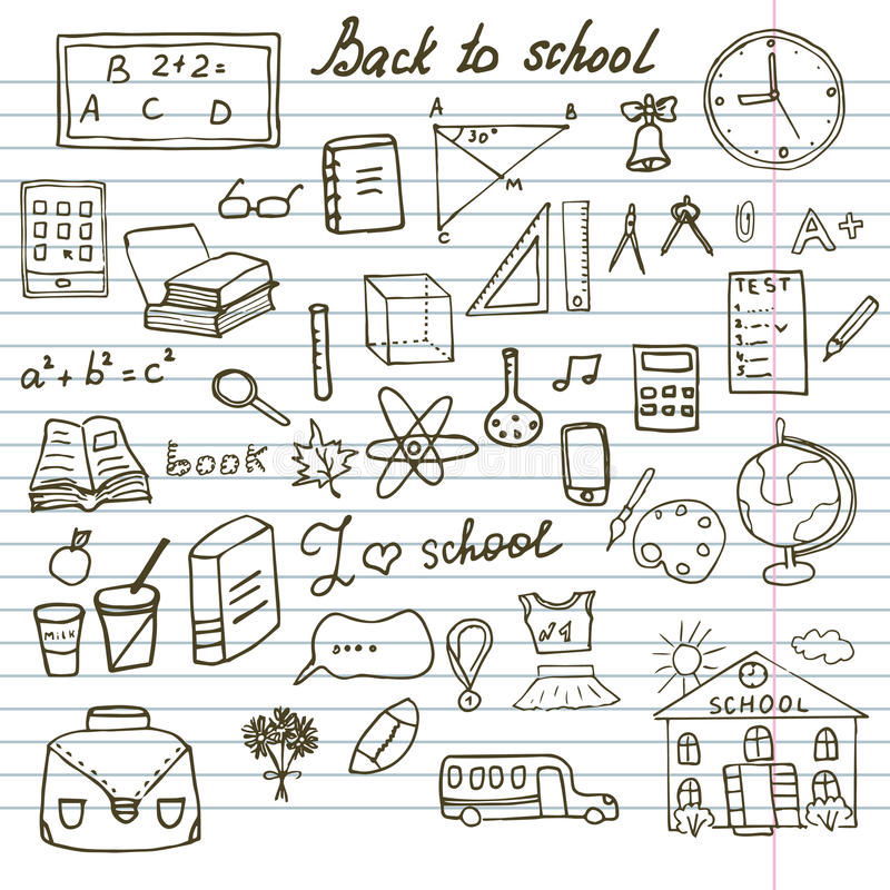 Zurück zu Schulbedarf-den flüchtigen Notizbuch-Gekritzeln eingestellt mit Beschriftung, von Hand gezeichnetes Vektor-Illustration stock abbildung