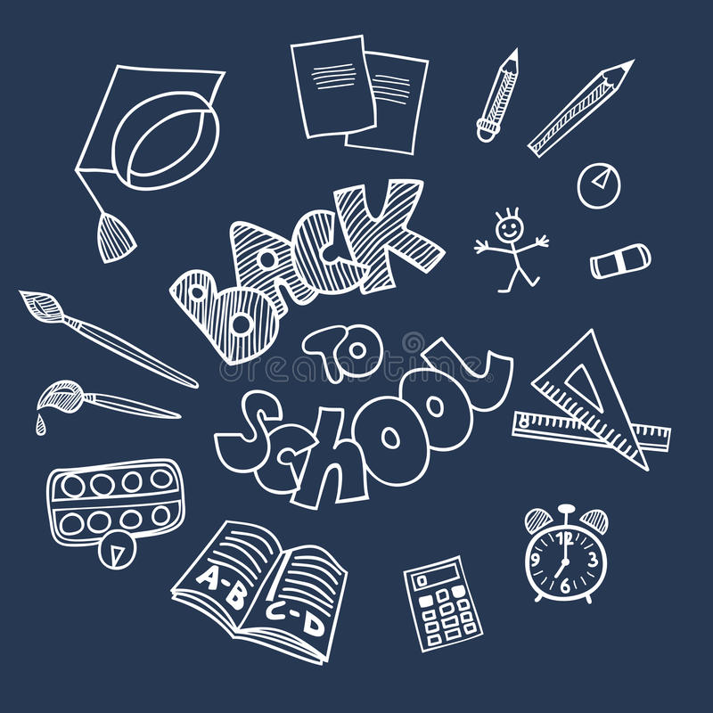 Zurück zu Schulbedarfgekritzeln stock abbildung