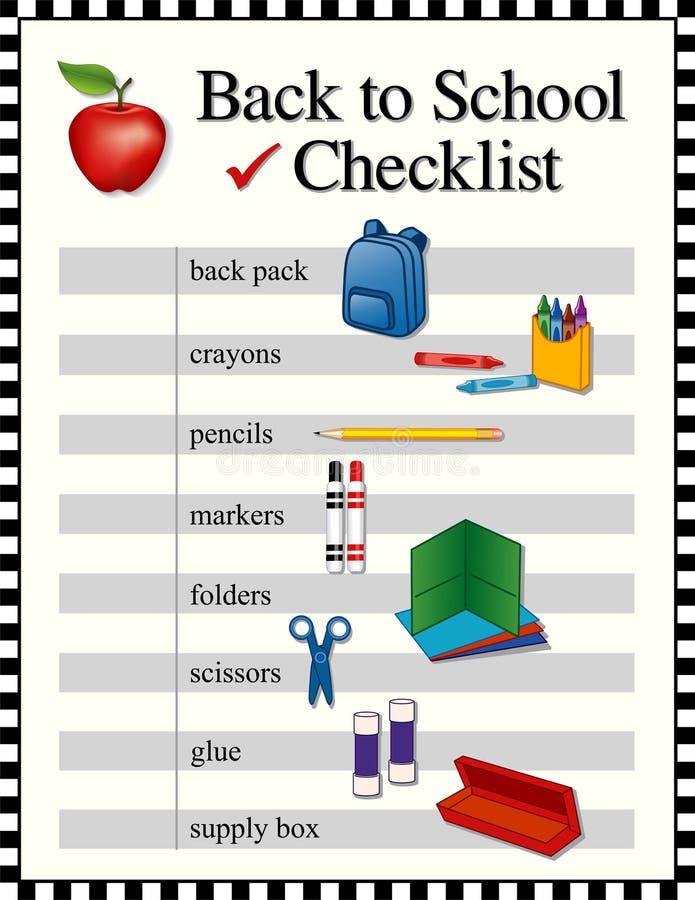 Zurück zu Schulcheckliste stock abbildung