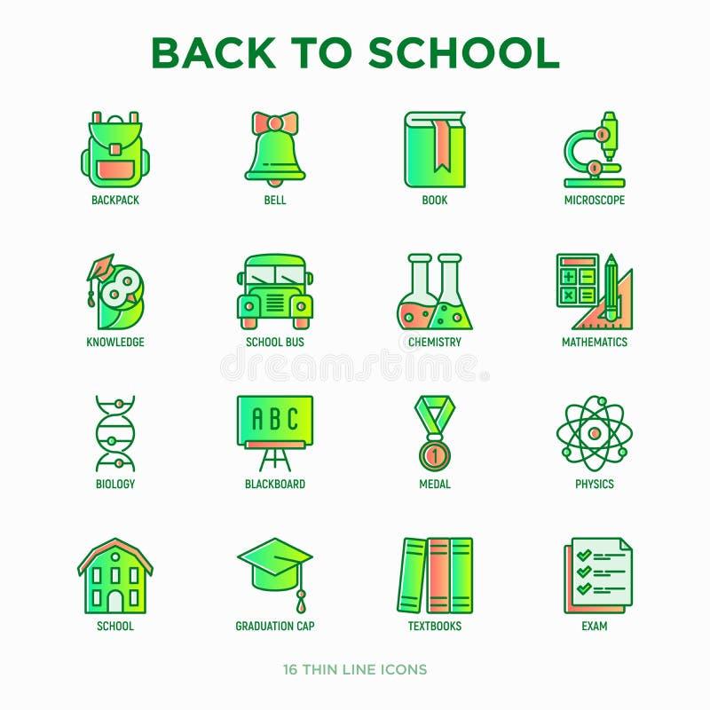 Zurück zu Schuldünner Linie Ikonensatz: Rucksack, Glocke, Buch, Mikroskop, Wissen, Eule, Staffelungskappe, Bus, Chemie, Mathemati vektor abbildung