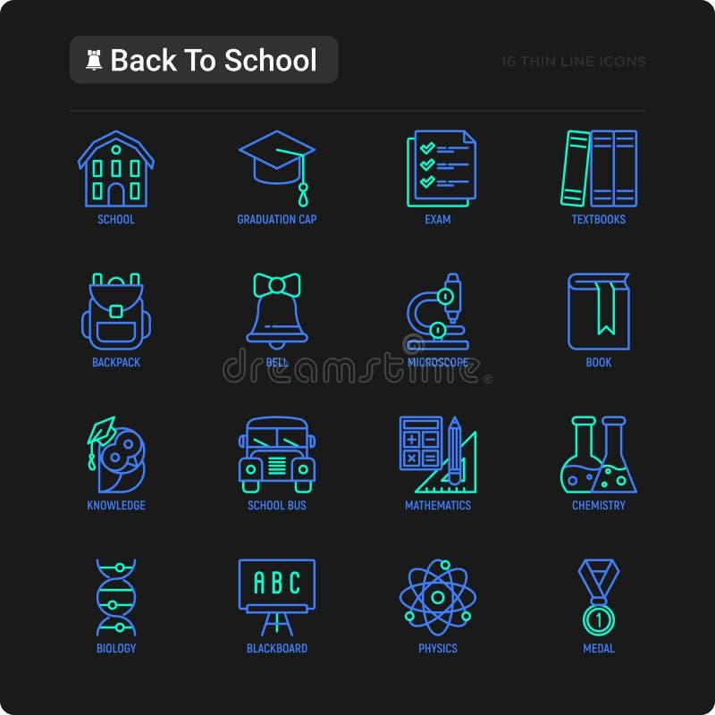 Zurück zu Schuldünner Linie Ikonensatz: Rucksack, Glocke, Buch, Mikroskop, Wissen, Eule, Staffelungskappe, Bus, Chemie, Mathemati lizenzfreie stockfotos