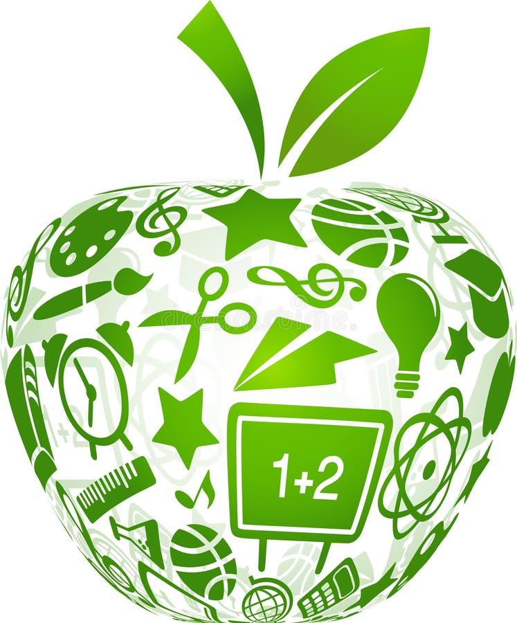 Zurück zu Schule - Apfel mit Ausbildungsikonen lizenzfreie abbildung