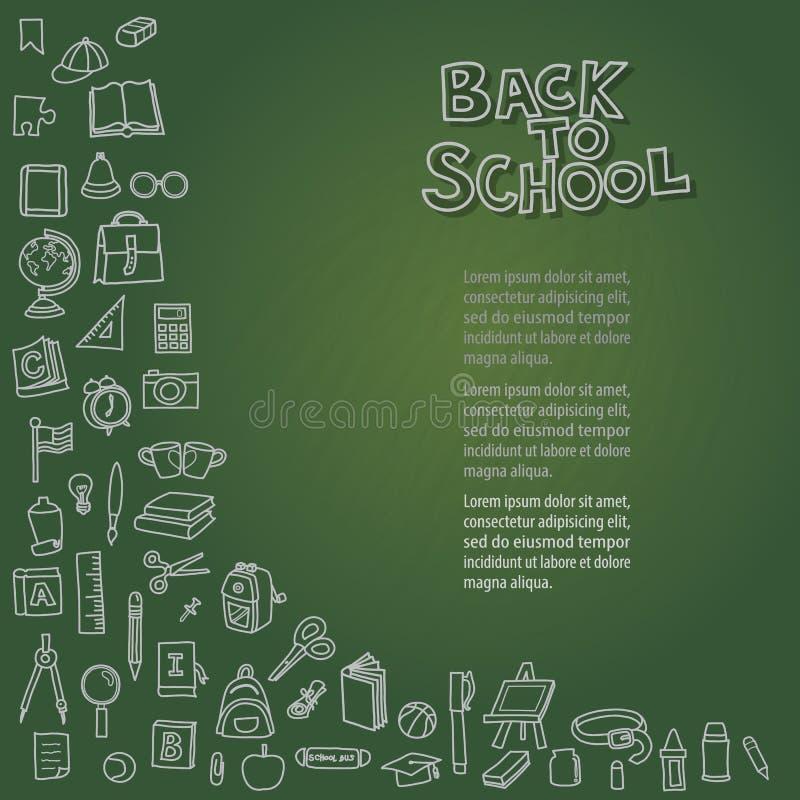 Zurück zu Schule auf Tafel lizenzfreie stockbilder