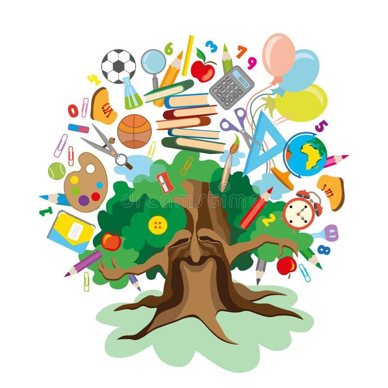 Zurück zu Schule - Baum mit Ausbildungsikonen lizenzfreies stockbild