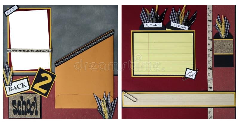 Zurück zu Schule-Einklebebuch-Feld-Schablone lizenzfreies stockfoto