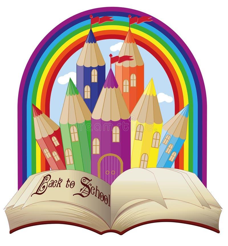Zurück zu Schule Elegantes magisches Märchenschloss vektor abbildung