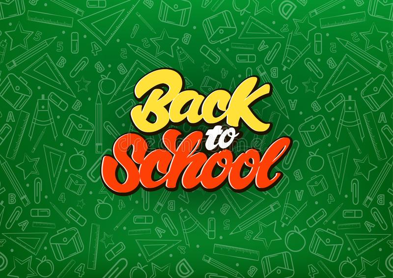 Zurück zu Schule feiern Sie, wenn Sie Art auf Tafel beschriften Schulillustrations-Hintergrundmuster Taube als Symbol der Liebe,  vektor abbildung
