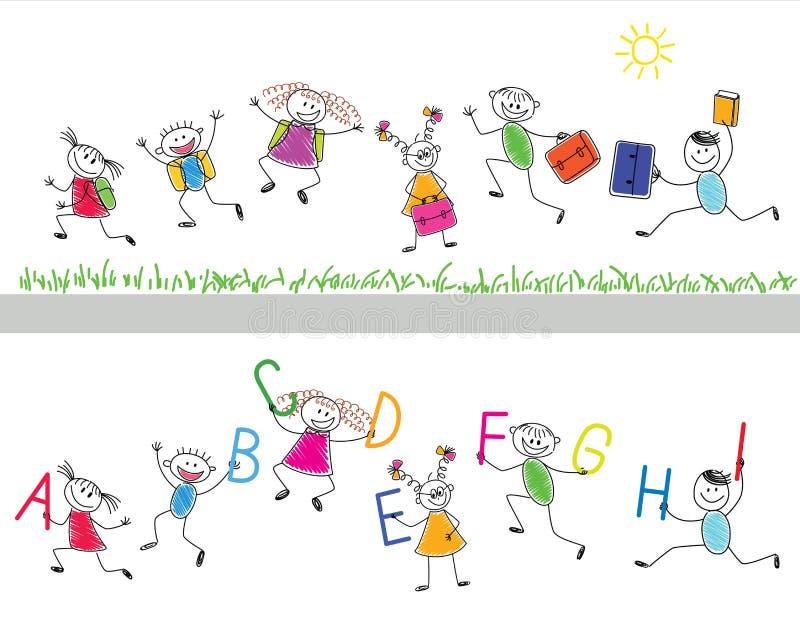 Zurück zu Schule. Frohe Kinder lassen i laufen stock abbildung