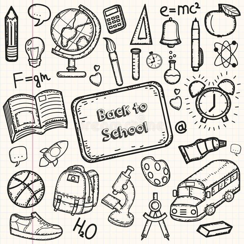 Zurück zu Schule-Gekritzel-Set Übergeben Sie Einzelteile des abgehobenen Betrages Schulauf einem Blatt des Übungsbuches Vektor stock abbildung