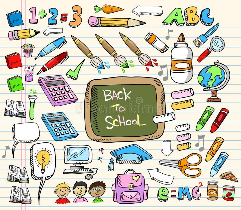 Zurück zu Schule-Gekritzel-Set lizenzfreie abbildung