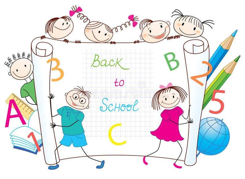Zurück zu Schule. Gruppe lustige Kinder. lizenzfreie abbildung