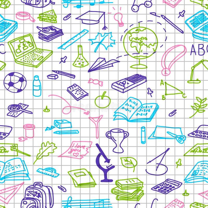 Zurück zu Schule Hand gezeichnete farbige Schattenbilder auf Karopapier, Skizze, Gekritzel, nahtloses Muster vektor abbildung