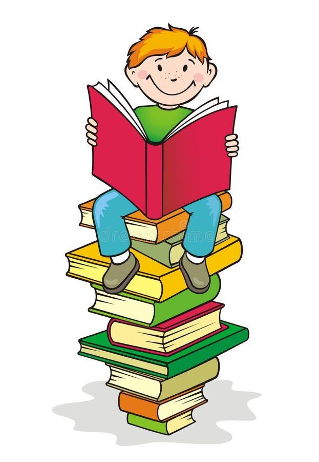Zurück zu Schule. Junge liest ein Buch. vektor abbildung
