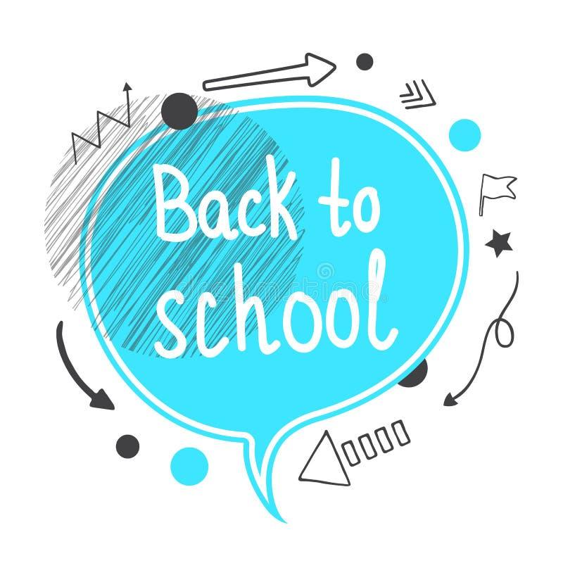 Zurück zu Schule-Konzept Blaue Spracheluftblase stock abbildung