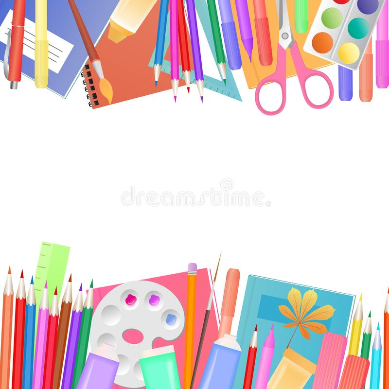 Zurück zu Schule-Konzept Ein Satz Themen für das Lernen und Kind-` s Kreativität vektor abbildung