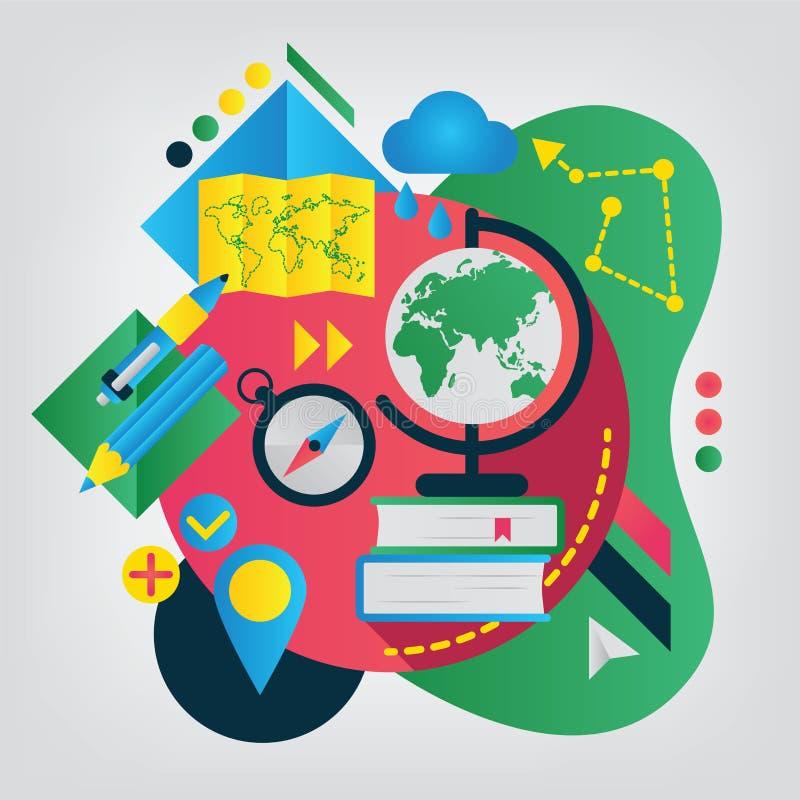 Zurück zu Schule-Konzept geographie lizenzfreie abbildung