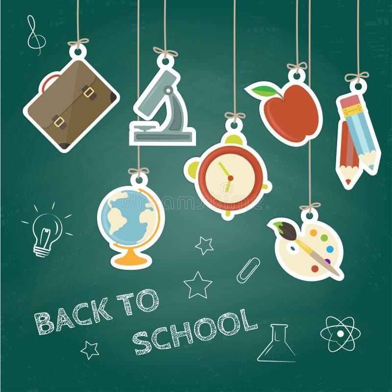 Zurück zu Schule-Konzept Hand gezeichneter Hintergrund mit Ikonensatz Grüner Tafeleffekt stock abbildung