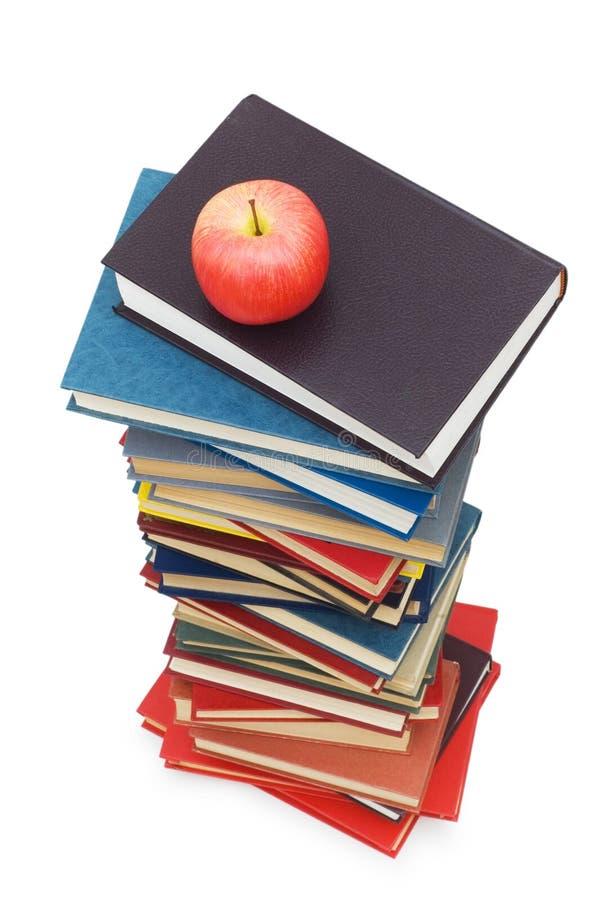 ?Zurück zu Schule? Konzept mit Büchern und Apfel stockfotos
