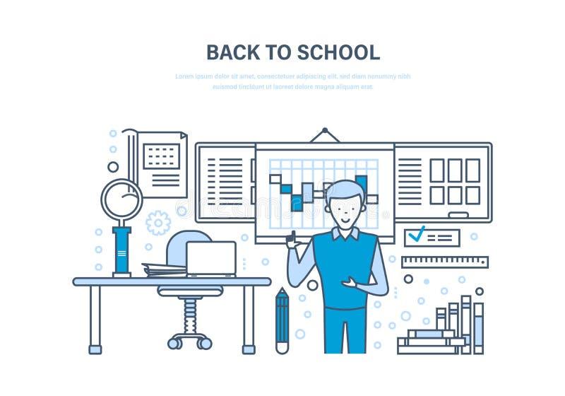 Zurück zu Schule-Konzept Teleunterricht, E-Learning Unterricht, Schulklassenzimmer vektor abbildung