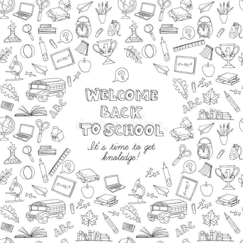 Zurück zu Schule kritzelt Grußkarte von Kindern mit Bus, Bücher, Co stock abbildung