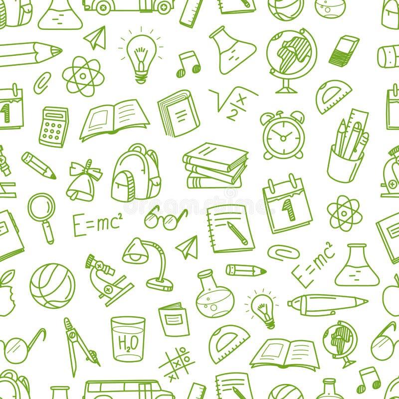 Zurück zu Schule kritzelt Kreide nahtloses Muster Bildungselement lizenzfreie abbildung