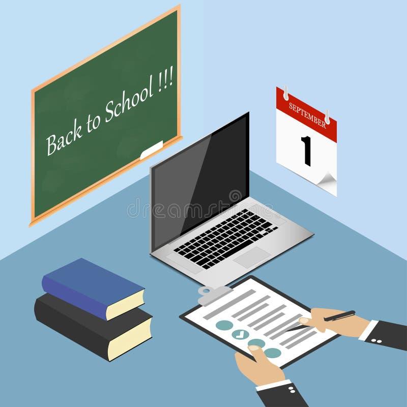 Zurück zu Schule Laptop, Bücher, Checkliste, Klemmbrett und Stift auf dem Desktop, Worktable Kalender auf der Wand Auch im corel  stock abbildung