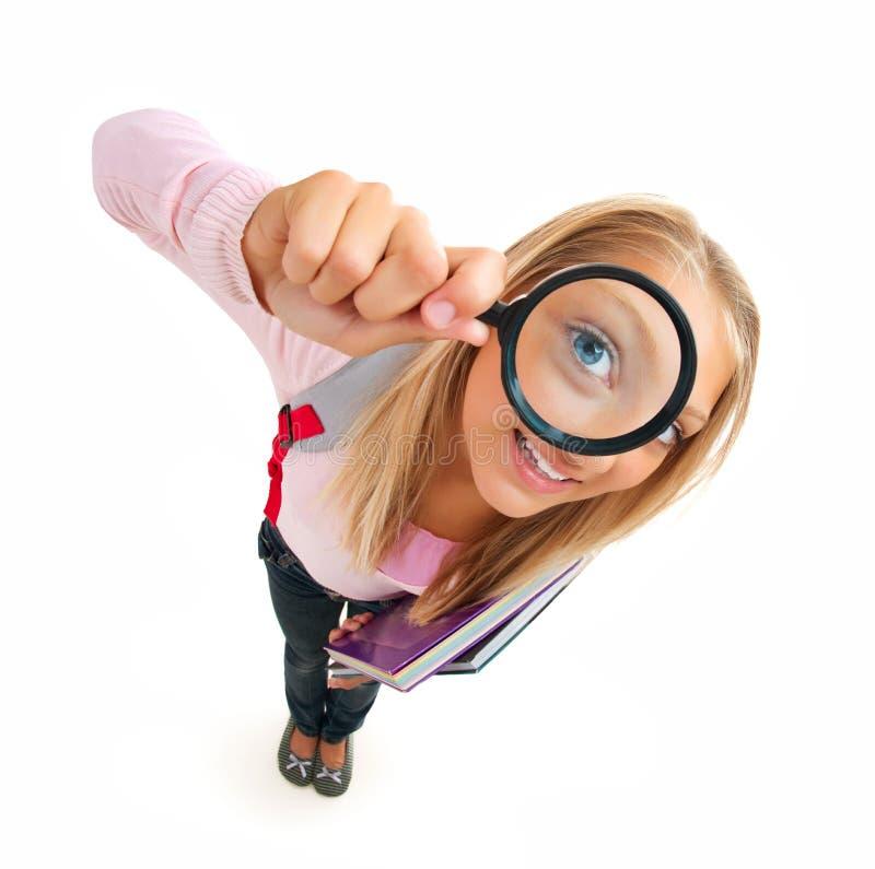 Zurück zu Schule. Lustiges Schulmädchen stockfoto