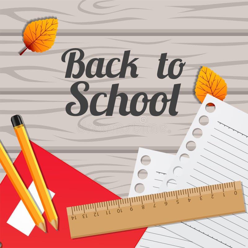 Zurück zu Schule mit Notizbuch, Papier, Machthaber, Bleistift und Herbstfallblatt auf dem Holz stock abbildung
