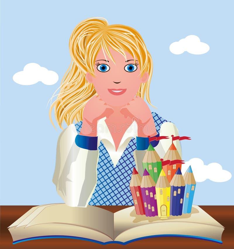 Zurück zu Schule Nettes kleines Schulmädchen mit Buch und Schloss lizenzfreie abbildung