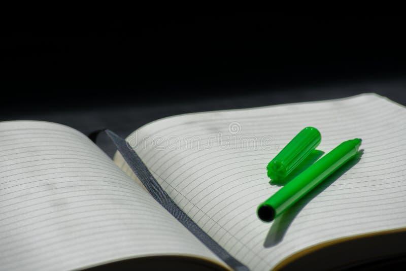 Zurück zu Schule-Noteblock-Notizbuch-Grün-Markierung merkt Farbe Sommer stockfoto