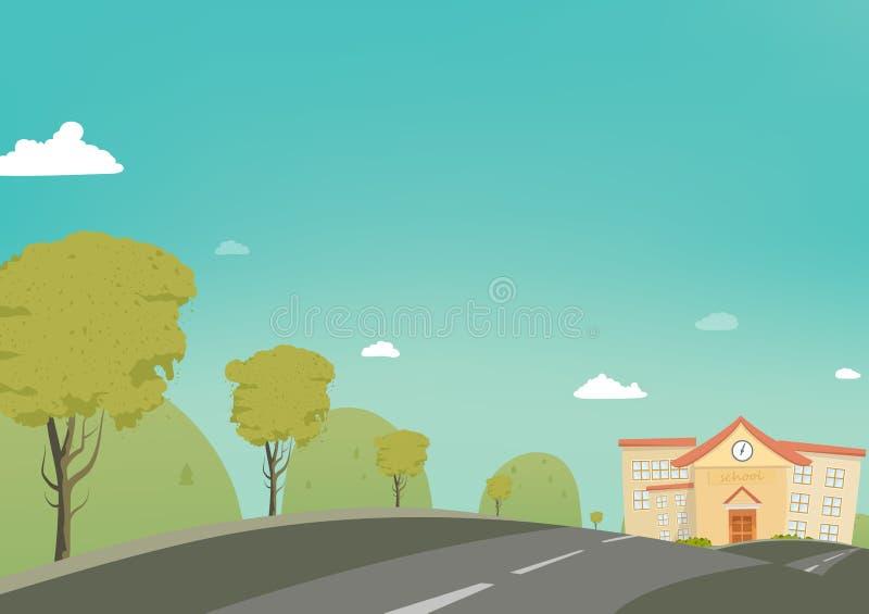 Zurück zu Schule Plakathintergrund-Vektorkarikatur, Grußkarte, Fahrweg zu schulen lizenzfreie abbildung