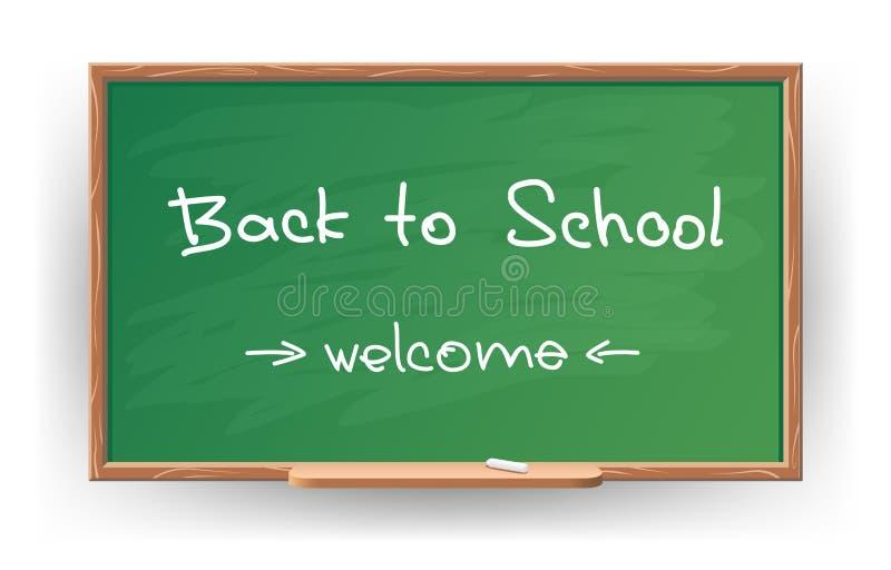Zurück zu Schule. Schrieb in Kreide auf Tafel lizenzfreie abbildung