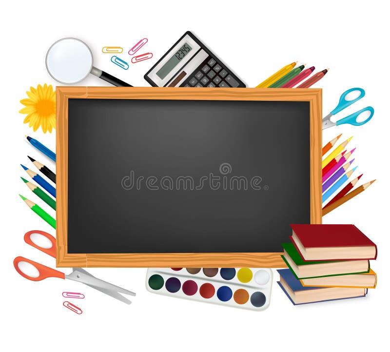 Zurück zu Schule. Schwarzer Schreibtisch mit Schulezubehör. lizenzfreie abbildung