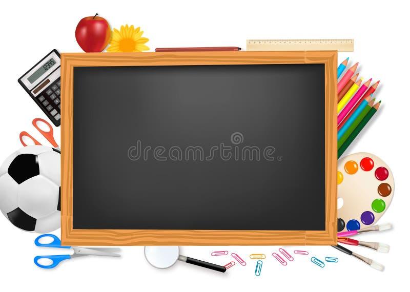 Zurück zu Schule. Schwarzer Schreibtisch mit Zubehör. Vektor. lizenzfreie abbildung