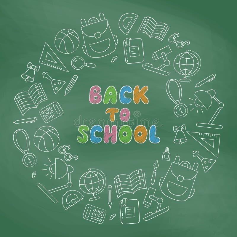 Zurück zu Schule September erster Tag des Wissens beschriftung linear Ð-¡ halkboard vektor abbildung