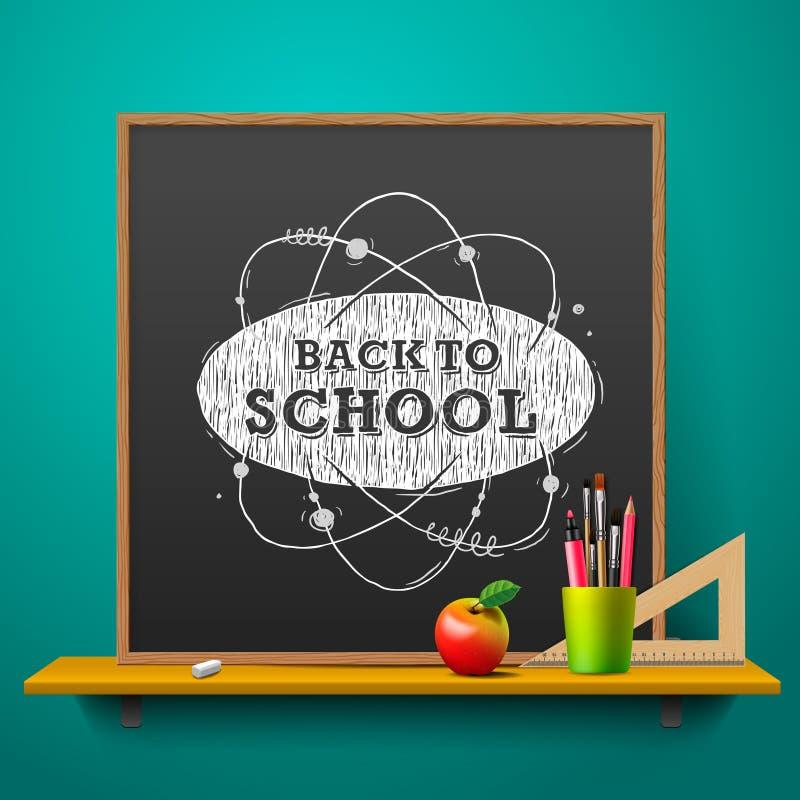 Zurück zu Schule Tafel auf der Wand, Vektor lizenzfreie abbildung
