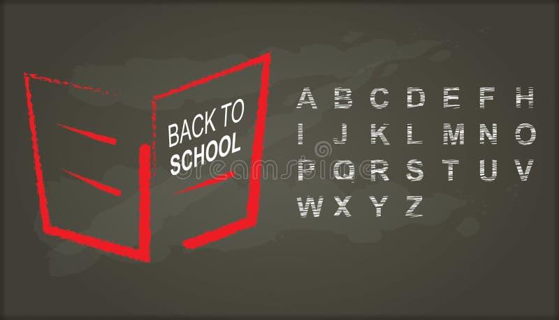 Zurück zu Schule Tafel mit Alphabet lizenzfreie abbildung
