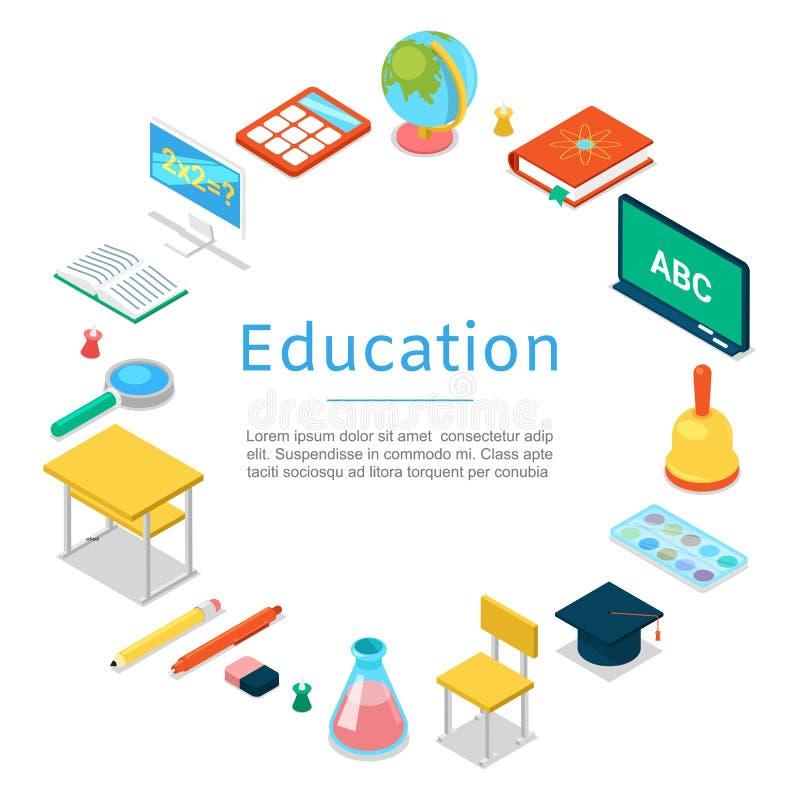Zurück zu Schule und Ausbildungsgegenstandikonenvektorplakat Bücher, Notizbuch, Tafel, Kugel mit Farbe und Taschenrechner lizenzfreie abbildung