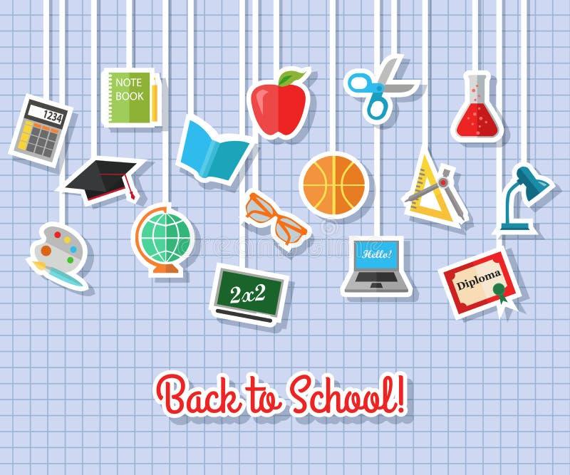Zurück zu Schule und flachen Ikonen der Bildung mit Computer, offenes Buch, Schreibtisch, Kugel Vector flache Sammlung Aufkleber, stock abbildung